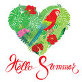 Seasonal card with Heart shape, palm trees leaves and Red Blue M Royalty Free Stock Photo