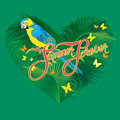 Seasonal card with Heart shape, palm trees leaves and Yellow Blu Royalty Free Stock Photo