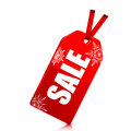 Seasonal christmas sale red price tag with percent discount on white background new year clearance Royalty Free Stock Photography