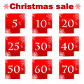 Seasonal christmas sale set of red discount stickers with percent isolated on white background Royalty Free Stock Photos