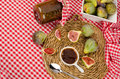 Seasonal fig preserve freshly picked figs and a homemade Stock Photography