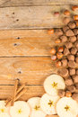 Seasonal food background with ingredients on a wooden surface Royalty Free Stock Photography