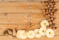 Seasonal food background with ingredients on a wooden surface Royalty Free Stock Photos