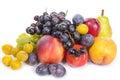 Seasonal fruits, grapes, plums, pears Royalty Free Stock Photo