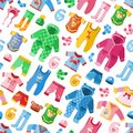 Seasonal infant clothes for kids babyish fashion infantile puerile cloth vector illustration seamless pattern background