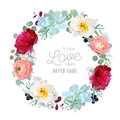Seasonal mixed round frame with peony, ranunculus, succulents, wild rose, brunia, blackberries and eucalyptus leaves Royalty Free Stock Photo