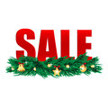 Seasonal new year clearance word sale decorated branches of christmas tree christmas background Royalty Free Stock Photo