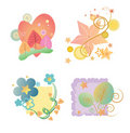 Seasonal Pack Flowers 4-in-1 Royalty Free Stock Photography