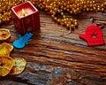 Seasonal rustic Christmas border composed of