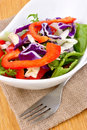 Seasonal salad in a white bowl Royalty Free Stock Image