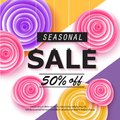 Seasonal sale banner with flowers