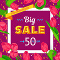 Seasonal sale banner. Spring holiday frame with text and flowers. Vector card with fresh colorful background