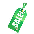 Seasonal sale green label decorated with white daisies on white background Royalty Free Stock Photos