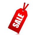 Seasonal sale red price tag with percent discount on white background Royalty Free Stock Image