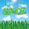 Seasonal sale word on a background of blue sky and green grass Stock Images