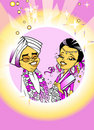 Wedding Just Married, Indian Couple, Cartoon Royalty Free Stock Photo