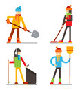 Seasonal spring summer cleaning snow leaves garbage clean tidy characters flat design vector illustration