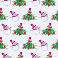 Seasonal winter light background with white snowmen and fir trees decorated with christmas toys and hat seamless vector pattern Royalty Free Stock Images