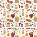 Seasoning food herbs relish natural vector ingredient seamless pattern