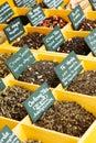 Seasonings at counter in spanish market Royalty Free Stock Photos
