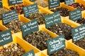 Seasonings in spanish market and tea at counter Stock Photos