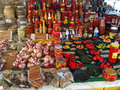 Seasonings spices and peppers exposed in a street market Stock Photos