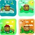 Seasons In Cartoon Style
