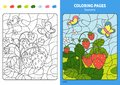 Seasons coloring page for kids, June month.