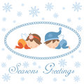 Seasons greetings card with sleeping angels Stock Image