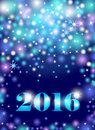 Seasons greetings, colorful fireworks design. Abstract bokeh background with lights, shining stars and bright glow on blue.