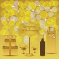 Seasons greetings golden gifts and cute birds yellow bokeh light dots shining stars background with message stand gift gift boxes Stock Photo