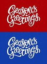 Seasons Greetings hand drawn brush pen lettering. Laconic vector illustration for Christmas, New Year event, promo. Red blue duo Royalty Free Stock Photo