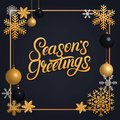 Seasons Greetings 2018 hand written lettering with golden decoration ornament. Royalty Free Stock Photo