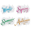 Seasons hand lettering Royalty Free Stock Images