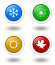 Seasons icon series rounded colorful with shadow illustration on white background Royalty Free Stock Photography