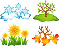 Seasons icons four stylized illustrations of winter spring summer autumn snow and snowflakes grass and yellow flowers tree with Stock Photos