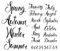 Seasons months and numbers calligraphy writing of the names of the Stock Image