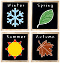 Seasons Symbols on Chalkboard Royalty Free Stock Photo