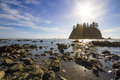Seastack sanctuary low tide second beach olympic national park horizontal sunny scene rugged sea stacks off rocky coastline la Royalty Free Stock Photos