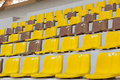 Seat grandstand yellow brown in the stadium at mae fah luang university chiangrai thailand Stock Images