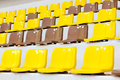 Seat grandstand yellow brown in the stadium at mae fah luang university chiangrai thailand Stock Photography
