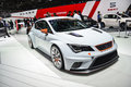 Seat leon cup racer on display during the geneva motor show geneva switzerland march Royalty Free Stock Images