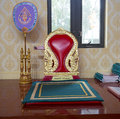 Seat of the monks at buddhist temple wat mongkolrata in tampa florida Royalty Free Stock Photo