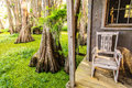 Seat on porch a a a house by a forest Royalty Free Stock Photography