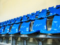 Seat rows installed on indoor sport stedium blue Royalty Free Stock Image