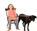 Seated girl on white with black and white dog smiling young rocking chair dressed in jeans bare feet holding a leash her labrador Royalty Free Stock Photos