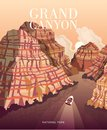 Grand Canyon panorama. Vector illustration of Arizona. Hiking and boating