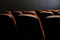 Seats in the cinema theatre contrast between read and black Stock Photography