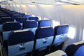 Seats of economy class in airplane Royalty Free Stock Photo