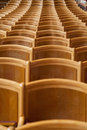 Seats in a hall group of wooden aligned closed room Stock Photos
